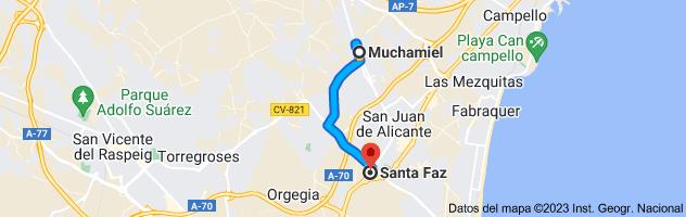 Mapa de Muchamiel, 03110, Alicante a Santa Faz, Alicante