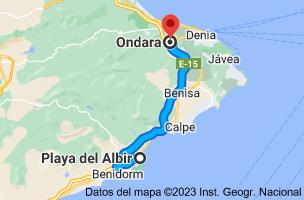 Mapa de LP, Alicante a Ondara, 03760, Alicante