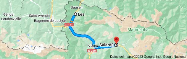 Mapa de Les, 25540, Lérida a Salardú, 25598, Lérida