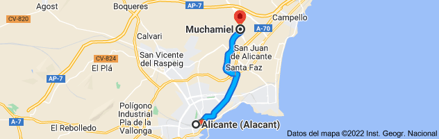 Mapa de Alicante a Muchamiel, 03110, Alicante