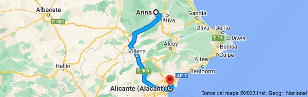 Mapa de Anna, 46820, Valencia a Alicante