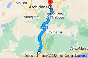 Mapa de Salinas, 29190 Málaga a Archidona, 29300, Málaga