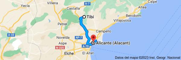 Mapa de Tibi, 03109, Alicante a Alicante