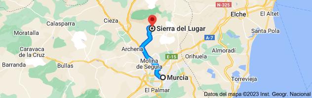 Mapa de Murcia a Sierra del Lugar, 30627, Murcia