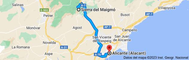 Mapa de Sierra del Maigmó, 03109, Alicante a Alicante