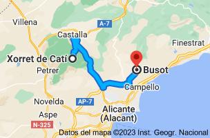 Mapa de Xorret del Catí, CV-817, s/n, 03420 Castalla, Alicante a Busot, 03111, Alicante