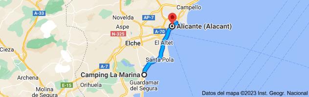 Mapa de La Marina Camping & Resort, Av. de l'Alegría, s/n, 03194 La Marina, Alicante a Alicante