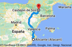Mapa de Alicante a Castejón de Sos, Huesca