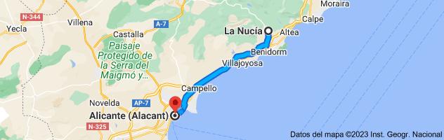 Mapa de La Nucía, 03530, Alicante a Alicante