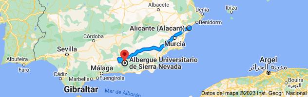 Mapa de Alicante a Albergue Universitario de Sierra Nevada, Calle Sierra Nevada, 36, 18196 Monachil, Granada