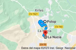 Mapa de Polop, 03520, Alicante a La Nucía, 03530, Alicante