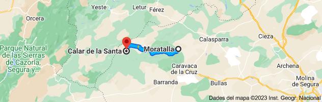 Mapa de Moratalla, 30440, Murcia hasta Calar de la Santa, 30441, Murcia