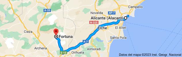 Mapa de Alicante a Fortuna, Murcia