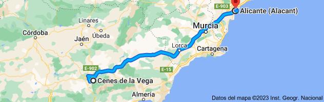 Mapa de Cenes de la Vega, Granada a Alicante