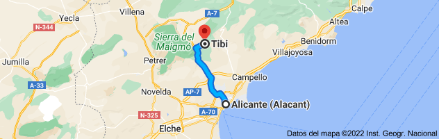 Mapa de Alicante a Tibi, 03109, Alicante