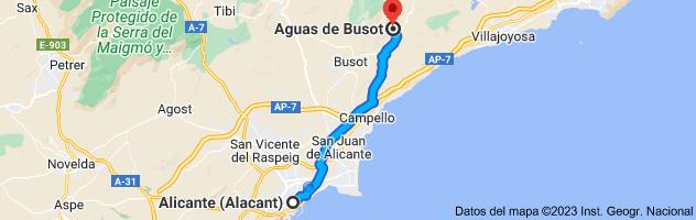 Mapa de Alicante a Aguas de Busot, 03569, Alicante