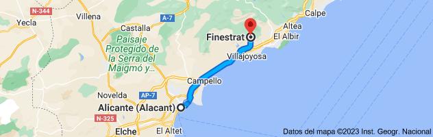 Mapa de Alicante a Finestrat, 03509, Alicante