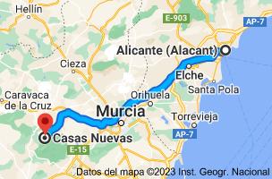 Mapa de Alicante a Casas Nuevas, 30177, Murcia