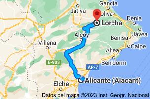 Mapa de Alicante a Lorcha, 03860, Alicante