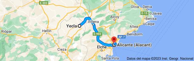 Mapa de Yecla, 30510, Murcia a Alicante