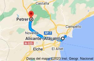 Mapa de Alicante a Petrer, 03610, Alicante