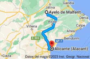 Mapa de Ayelo de Malferit, 46812, Valencia a Alicante