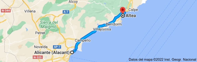 Mapa de Alicante a Altea, Alicante