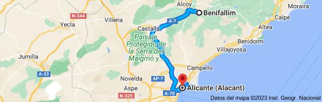 Mapa de Benifallim, 03816, Alicante a Alicante