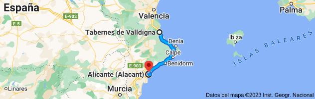Mapa de Tabernes de Valldigna, 46760, Valencia a Alicante