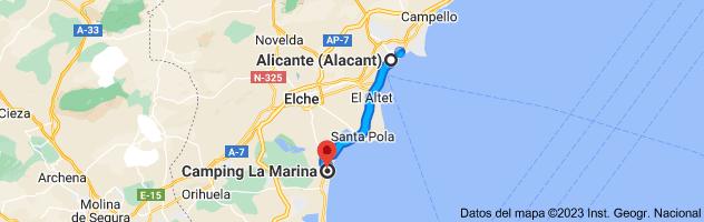 Mapa de Alicante a La Marina Camping & Resort, Av. de l'Alegría, s/n, 03194 La Marina, Alicante