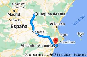 Mapa de Laguna de Uña, 16152, Cuenca a Alicante