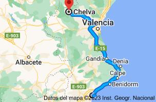 Mapa de Alicante a Chelva, 46176, Valencia
