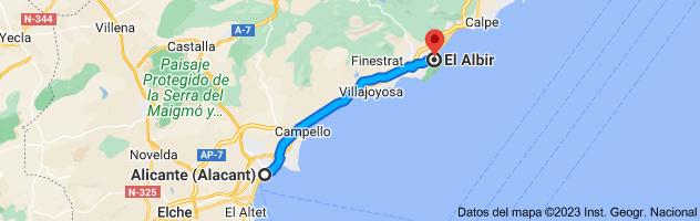 Mapa de Alicante a El Albir, 03581, Alicante