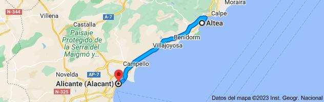 Mapa de Altea, Alicante a Alicante