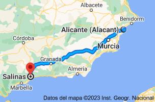 Mapa de Alicante a Salinas, 29190 Málaga