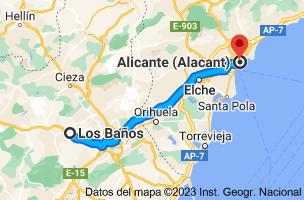 Mapa de Los Baños, 30193, Murcia a Alicante