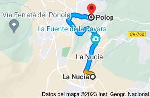 Mapa de La Nucía, 03530, Alicante a Polop, 03520, Alicante
