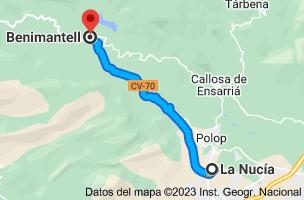 Mapa de La Nucía, 03530, Alicante a Benimantell, 03516, Alicante