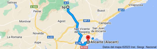 Mapa de Estacion de servicio Bp-Xirau, Autovia A-7, Km 482, 03109 Tibi, Alicante a Alicante