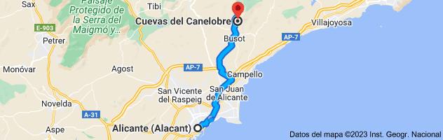 Mapa de Alicante a Cova del Canelobre, carretera cuevas canelobre, CV-776, 03111 Busot, Alicante