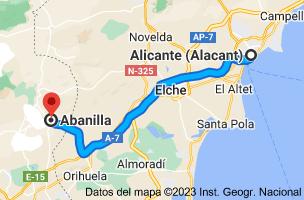 Mapa de Alicante a Abanilla, Murcia