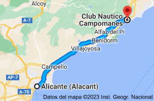 Mapa de Alicante a Club Nautico Campomanes, Puerto Deportivo Campomanes, Partida Mascarat, s/n, 03590 Altea, Alicante