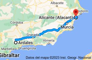 Mapa de Ardales, 29550, Málaga a Alicante
