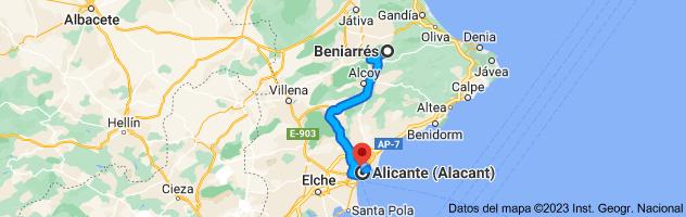 Mapa de Beniarrés, 03850, Alicante a Alicante