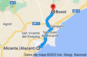 Mapa de Alicante a Busot, 03111, Alicante