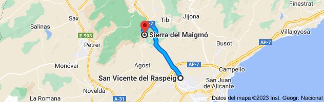 Mapa de San Vicente del Raspeig, Alicante a Sierra del Maigmó, 03109, Alicante