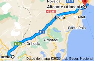 Mapa de Murcia a Alicante