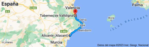 Mapa de Alicante a Tabernes de Valldigna, 46760, Valencia