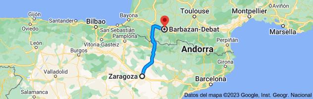 Mapa de Zaragoza a Barbazan-Debat, 65690, Francia