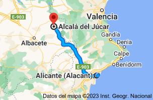 Mapa de Alicante a Alcalá del Júcar, 02210, Albacete